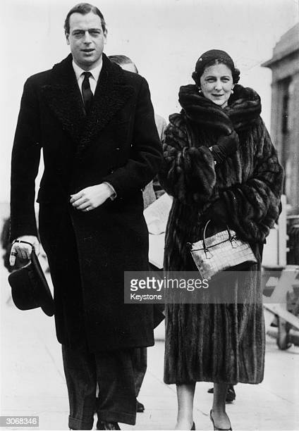 George Duke of Kent and Marina Duchess of Kent arrive at Croydon Airport London en route to Germany to join the Duke of Windsor