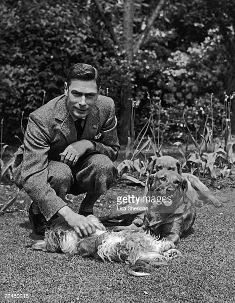 George Duke of York playing with pet dogs in the grounds of the Royal Lodge Windsor June 1936 six months before his accession as King George VI