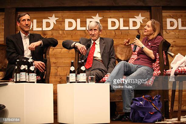 George Dyson Freeman Dyson and Esther Dyson pose for a picture during the Digital Life Design conference at HVB Forum on January 22 2012 in Munich...