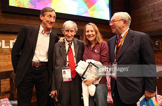 George Dyson Freeman Dyson Esther Dyson and DLD chairman Huber Burda pose for a picture during the Digital Life Design conference at HVB Forum on...