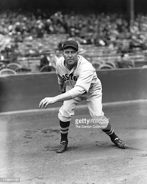 George E. Walberg of the Boston Red Sox in position to catch a ball in 1936.