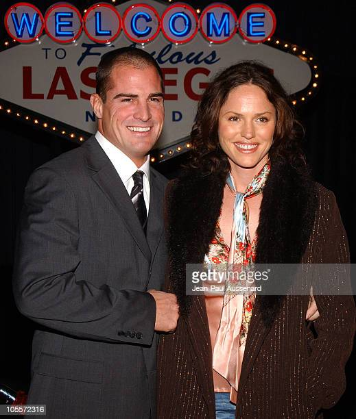 George Eads and Jorja Fox during CSI 100th Episode Celebration at Hanger 8 in Santa Monica California United States