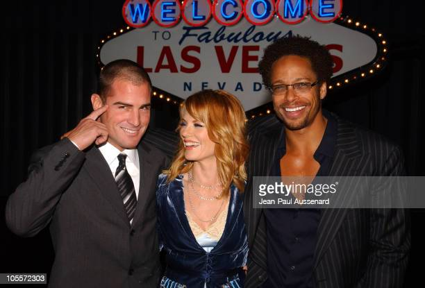 George Eads Marg Helgenberger and Gary Dourdan during CSI 100th Episode Celebration at Hanger 8 in Santa Monica California United States