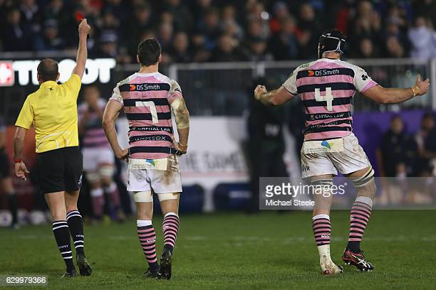 George Earle of Cardiff is shown a red card by referee Alexandre Ruiz during the European Rugby Challenge Cup match between Bath Rugby and Cardiff...