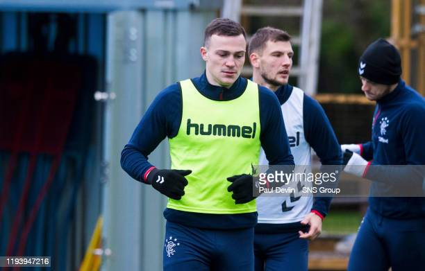 George Edmundson during Rangers media access at the Hummel Training Centre on January 16 in Glasgow Scotland
