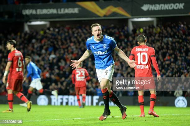 George Edmundson of Rangers FC celebrates after scoring his team's first goal during the UEFA Europa League round of 16 first leg match between...