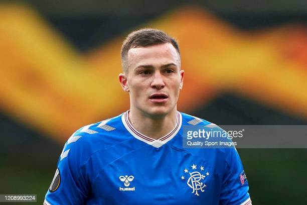 George Edmundson of Rangers FC looks on during the UEFA Europa League round of 32 second leg match between Sporting Club Braga and Rangers FC at...