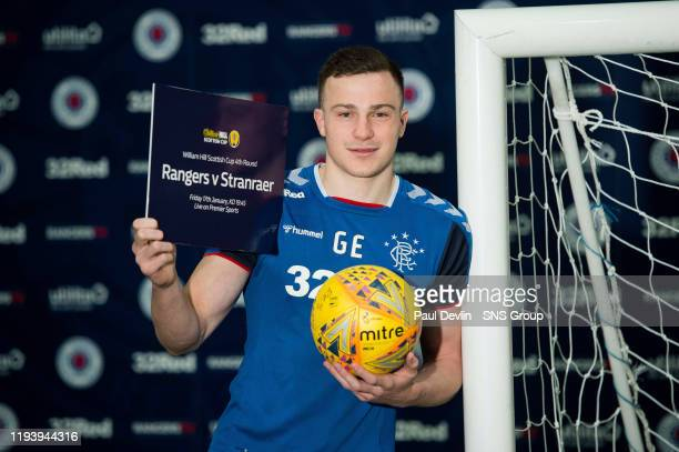 George Edmundson previews the William Hill Scottish Cup tie against Stranraer during Rangers media access at the Hummel Training Centre on January 16...