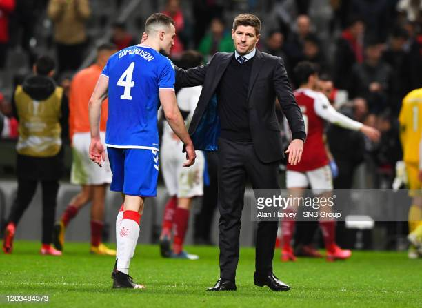 George Edmundson with Steven Gerrard at Full Time during the Europa League Round of 32 2nd Leg match between SC Braga and Rangers at Estadio...