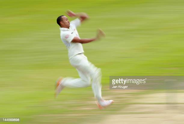 George Edwards of Surrey in action during the LV County Championship Division One match between Surrey and Somerset at The Kia Oval on May 16 2012 in...