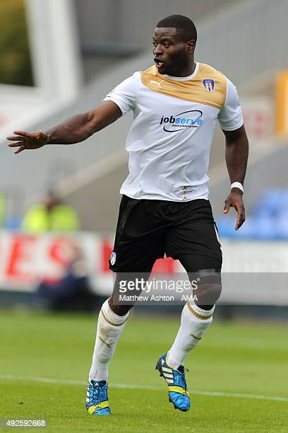 George Elokobi of Colchester United during the Sky Bet League One match between Shrewsbury Town and Colchester United at New Meadow on October 10...