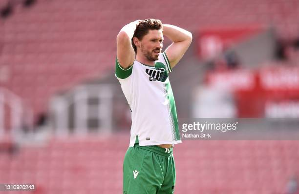 George Evans of Millwall FC reacts during the Sky Bet Championship match between Stoke City and Millwall at Bet365 Stadium on April 05, 2021 in Stoke...