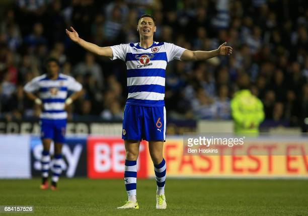 George Evans of Reading reacts during the Sky Bet Championship Play Off Second Leg match between Reading and Fulham at Madejski Stadium on May 16...