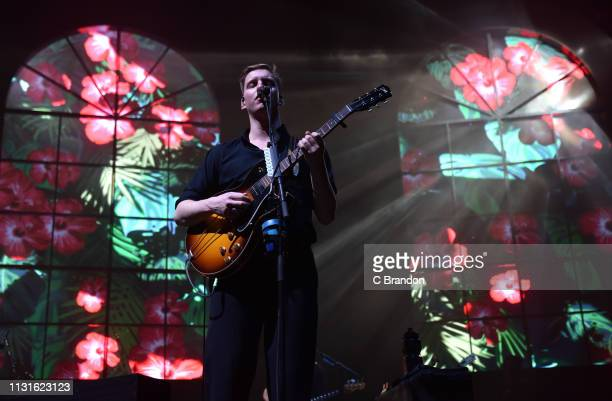 George Ezra performs on stage at the O2 Arena on March 19 2019 in London England