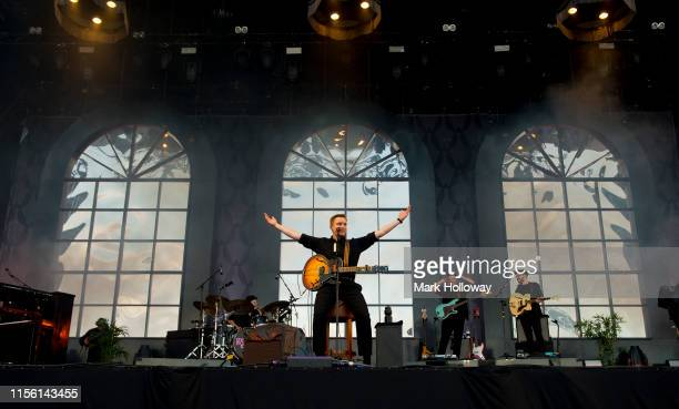 George Ezra performs on stage during Isle of Wight Festival 2019 at Seaclose Park on June 15 2019 in Newport Isle of Wight