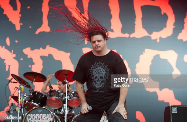 George Fisher of Cannibal Corpse performs at Bloodstock Festival at Catton Hall on August 11, 2018 in Burton Upon Trent, England.
