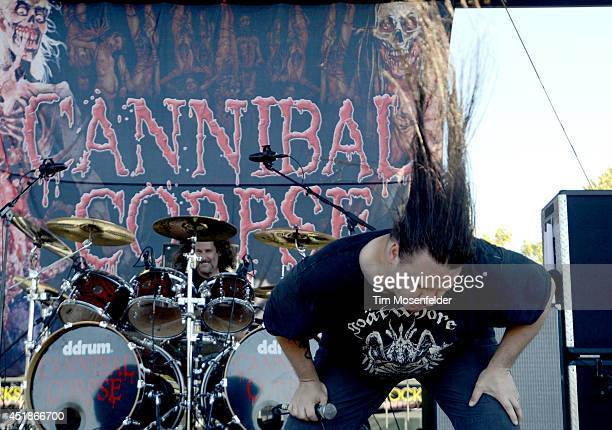 George Fisher of Cannibal Corpse performs during the Rockstar Energy Mayhem Festival at Shoreline Amphitheatre on July 6 2014 in Mountain View...
