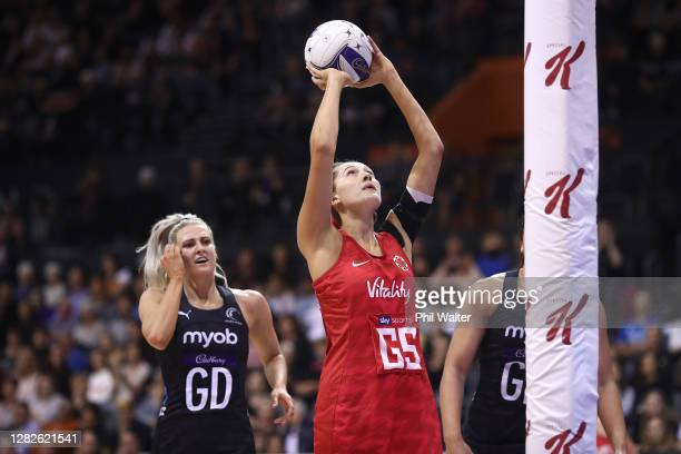George Fisher of England shoots during game 1 of the Cadbury Netball Series between the New Zealand Silver Ferns and the England Roses at Claudelands...