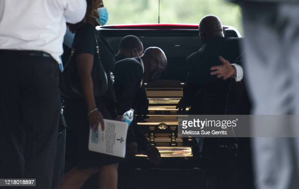 George Floyds body is brought out of the R.L. Douglas Cape Fear Center after a memorial on June 6, 2020 in Fayetteville, North Carolina. George Floyd...