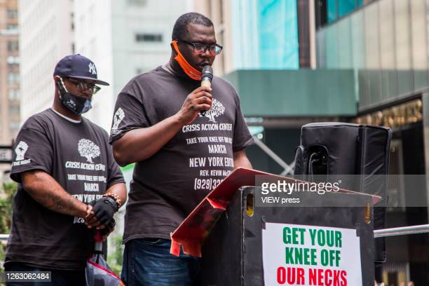 George Floyd's brother Terrence Floyd together with Reverend Kevin McCall in front of the Trump Tower on 5 Av on July 31 2020 in New York City Since...