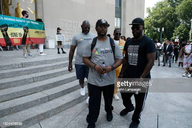 George Floyd's brother, Terrence Floyd walks past The Brooklyn Public Library as New York City honors Juneteenth holiday on June 19, 2021 in Brooklyn...
