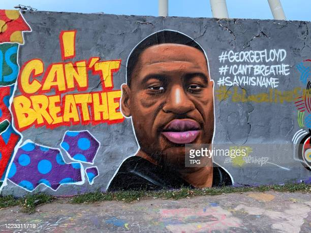 George Floyd's face was painted on a wall on 27th June 2020 in BerlinGermany