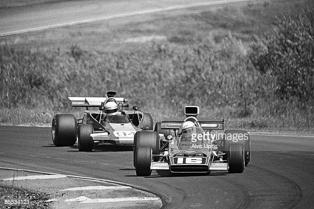 George Follmer's Lotus 70B leads Eppie Wietzes' Lola T300 during Heat One of the Minnesota Grand Prix of the LM Continental Series held in two heats...