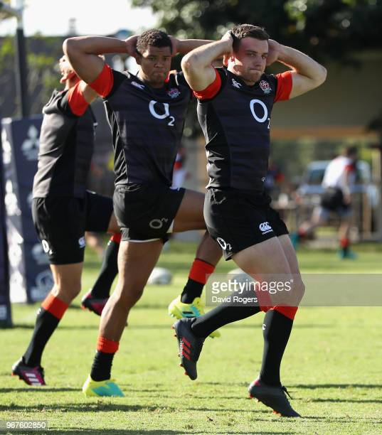 George Ford and Nathan Earle warm up during the England training session held at Kings Park Stadium on June 5 2018 in Durban South Africa