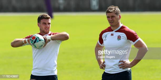George Ford and Owen Farrell look on during the England training session at Fuchu Asahi Football Park on October 01 2019 in Tokyo Japan