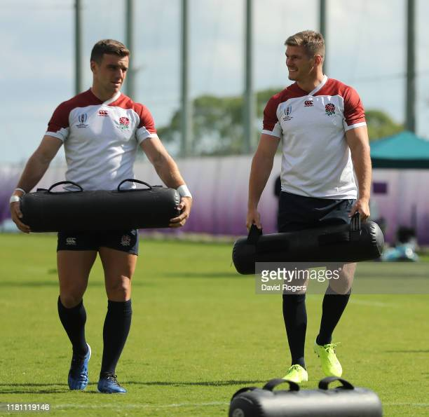 George Ford and Owen Farrell look on during the England training session held Jissouji multi purpose ground on October 15 2019 in Beppu Japan