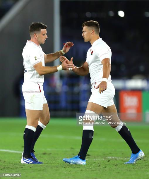 George Ford is substituted for Henry Slade of England during the Rugby World Cup 2019 Final between England and South Africa at International Stadium...