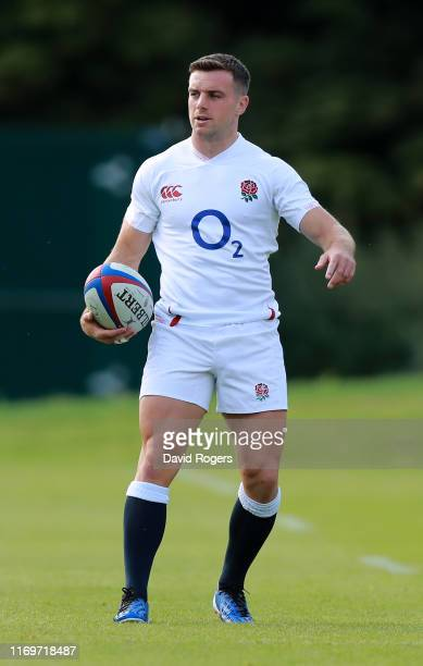 George Ford looks on during the England captain's run at Pennyhill Park on August 23, 2019 in Bagshot, England.