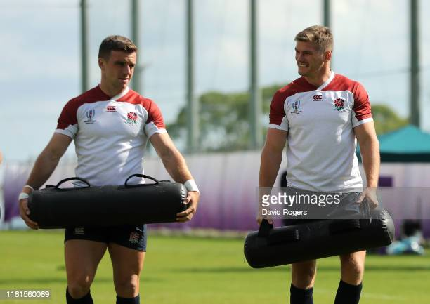 George Ford looks on with team mate Owen Farrell during the England training session at Jissoji Ground on October 15 2019 in Beppu Japan