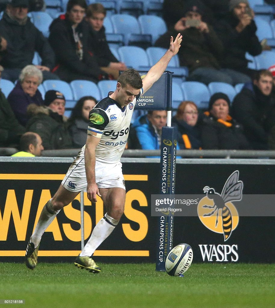 George Ford of Bath kicks a last minute conversion, of an Anthony Watson try, to win the match during the European Rugby Champions Cup match between Wasps and Bath at the Ricoh Arena on December 13, 2015 in Coventry, England.