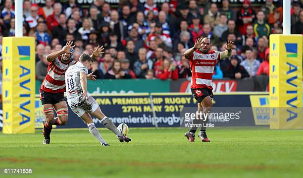 George Ford of Bath Rugby converts a drop kick at goal during the Aviva Premiership match between Gloucester Rugby and Bath Rugby at Kingsholm...