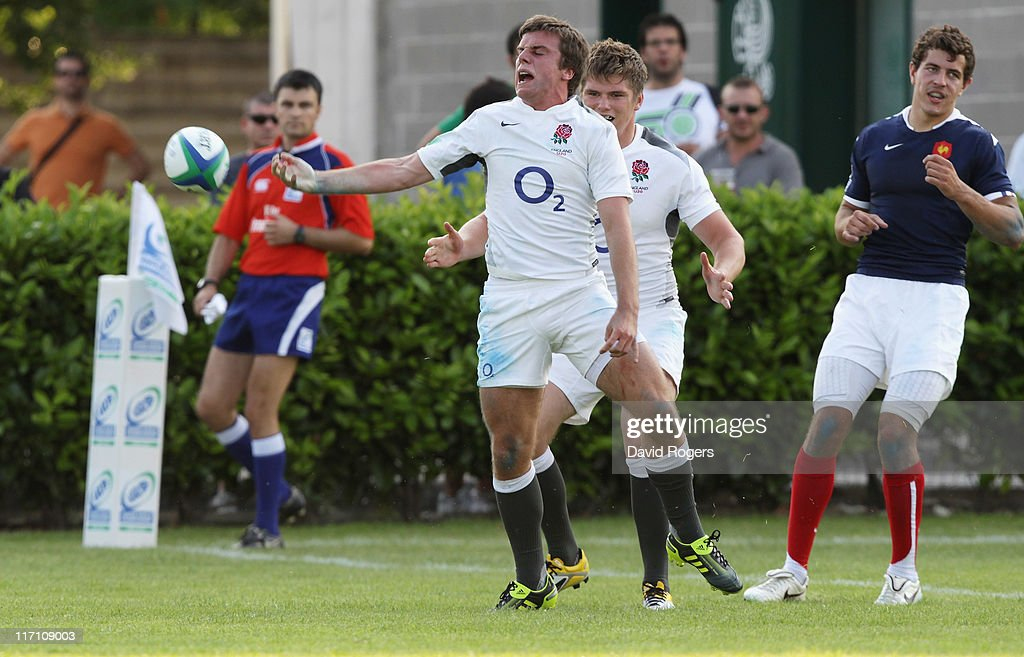 George Ford of England celebrates after scoring a try during the IRB Junior World Championship match between England and France at the Stadio Communale di Monigo on June 22, 2011 in Treviso, Italy.