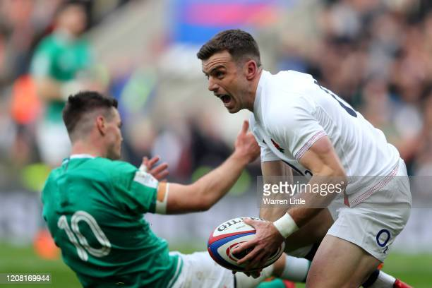 George Ford of England celebrates after scoring his side's first try during the 2020 Guinness Six Nations match between England and Ireland at...