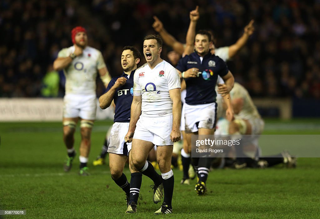 George Ford of England celebrates his team's victory as the final whistle blows during the RBS Six Nations match between Scotland and England at Murrayfield Stadium on February 6, 2016 in Edinburgh, Scotland.