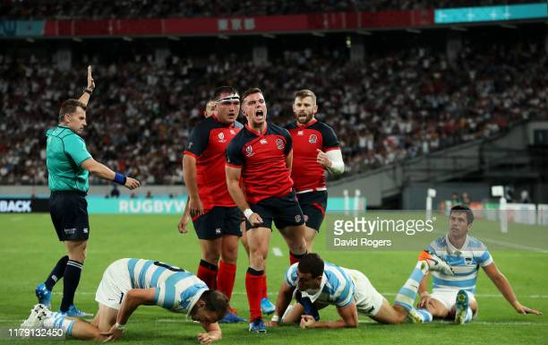 George Ford of England celebrates scoring his side's fourth try during the Rugby World Cup 2019 Group C game between England and Argentina at Tokyo...