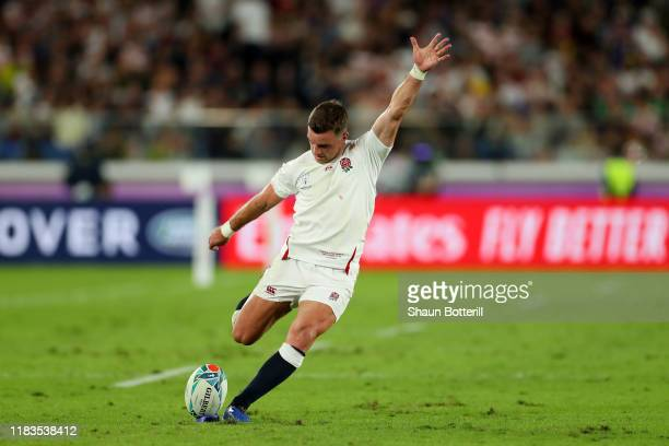George Ford of England converts a penalty kick during the Rugby World Cup 2019 SemiFinal match between England and New Zealand at International...