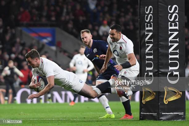 George Ford of England dives over to score in the last minute during the Six Nations match between England and Scotland at Twickenham Stadium on...