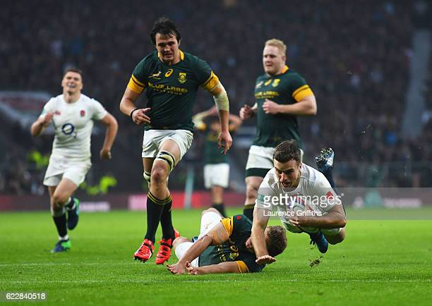 George Ford of England dives to score his team's third try during the Old Mutual Wealth Series match between England and South Africa at Twickenham...