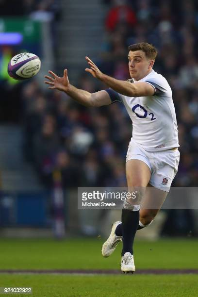 George Ford of England during the NatWest Six Nations match between Scotland and England at Murrayfield on February 24 2018 in Edinburgh Scotland