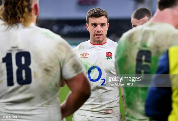 George Ford of England gives his team instructions during half time of extra time during the Autumn Nations Cup Final & Quilter International between...