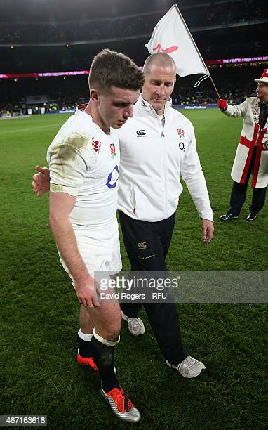 George Ford of England is consoled by head coach Stuart Lancaster at the end of the RBS Six Nations match between England and France at Twickenham...