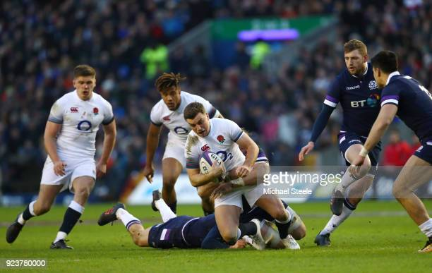 George Ford of England is tackled during the NatWest Six Nations match between Scotland and England at Murrayfield on February 24 2018 in Edinburgh...