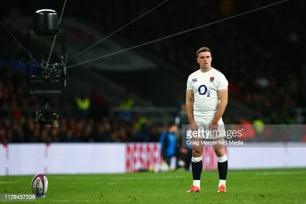 George Ford of England kicks a conversion during the Guinness Six Nations match between England and Italy at Twickenham Stadium on March 9, 2019 in...