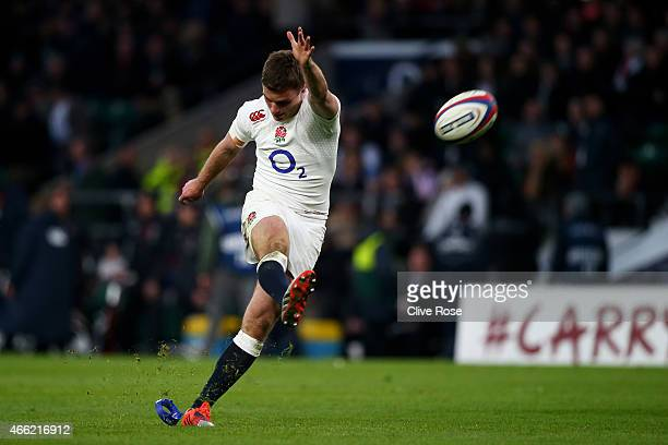 George Ford of England kicks a conversion during the RBS Six Nations match between England and Scotland at Twickenham Stadium on March 14 2015 in...