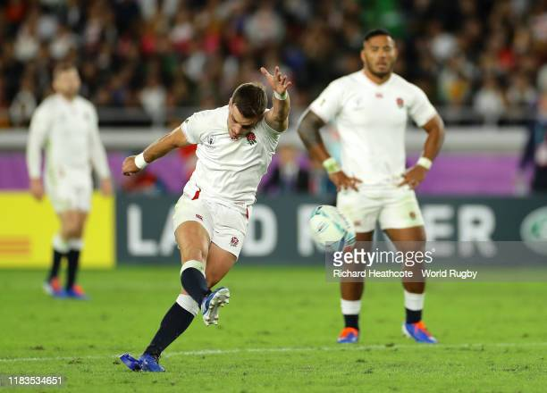 George Ford of England kicks a penalty during the Rugby World Cup 2019 Semi-Final match between England and New Zealand at International Stadium...