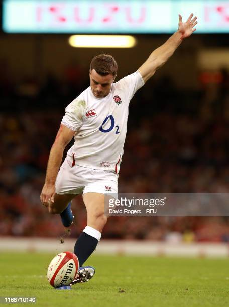 George Ford of England kicks a penalty during the Under Armour Summer Series 2019 match between Wales and England at the Principality Stadium on...